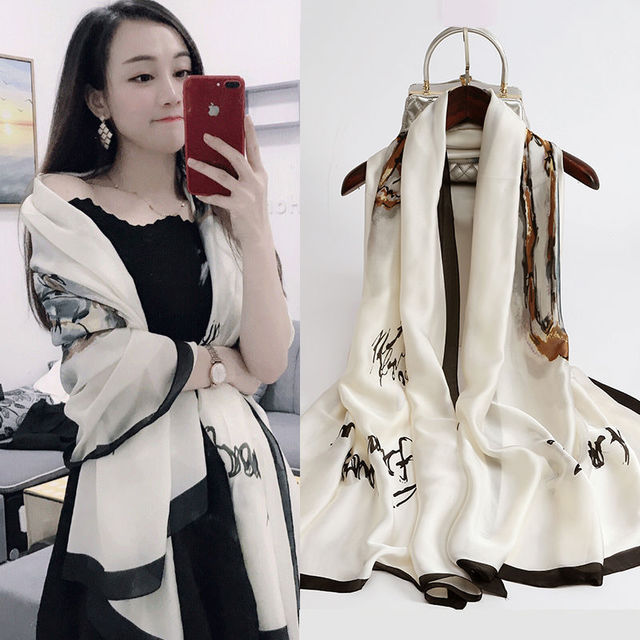 Korean autumn and winter new printing silk silk silk live popular scarves warm shawl shawl scarf for